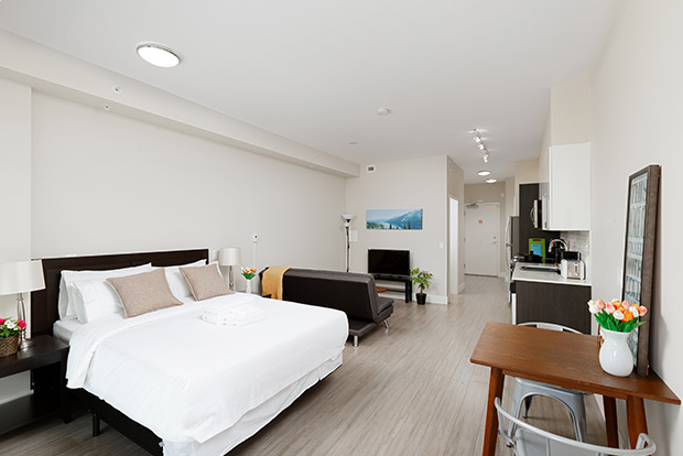 GEC Pearson Premium Studio Apartments are fully furnished and include a queen size bed