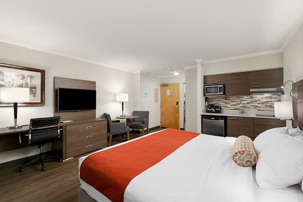 Fully equipped kitchenette for King or Double Beds Suite at Downtown Vancouver GEC Granville Suites long term extended stays hotel