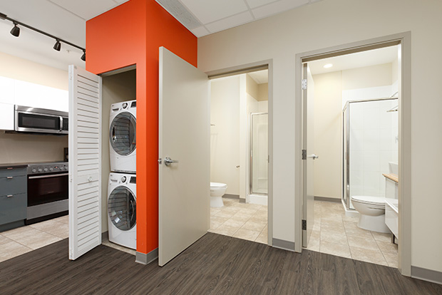 Every student apartment at GEC Viva includes in-unit in-suite washing machine and dryer