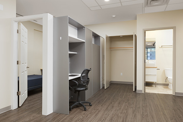 Sectioned den at GEC Viva in Downtown Vancouver includes a twin bed and can be used as a flex space or office