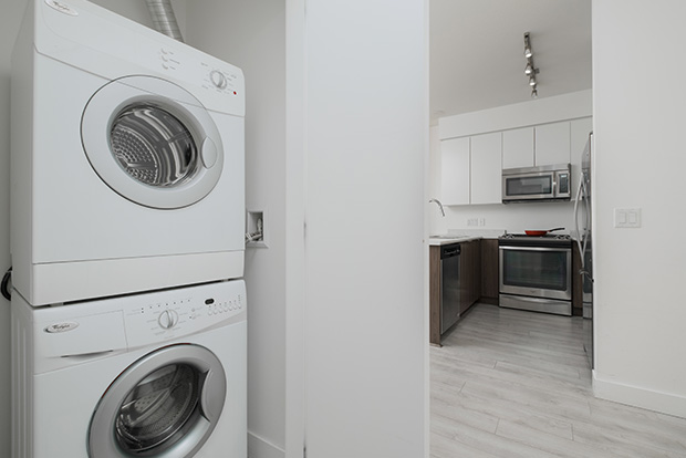 Every student apartment at GEC Pearson includes in-unit in-suite washing machine and dryer
