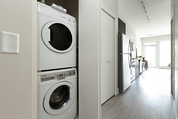 Every apartment at GEC Pearson includes in-unit in-suite washing machine and dryer