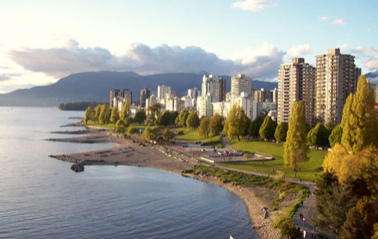 English Bay and Sunset Beach seawall and fireworks are near GEC Viva student accommodations and GEC Granville Suites long term and extended stay hotel in Downtown Vancouver