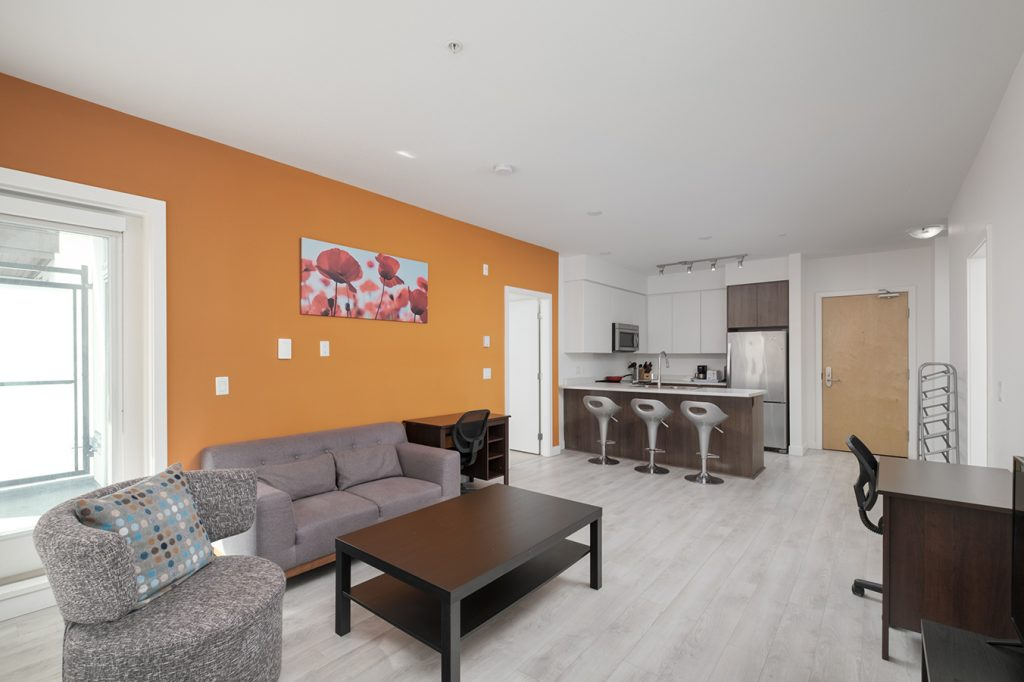 Apartments at GEC Burnaby Heights in Vancouver are fully furnished and include a smart TV for streaming Netflix or Amazon Prime or gaming