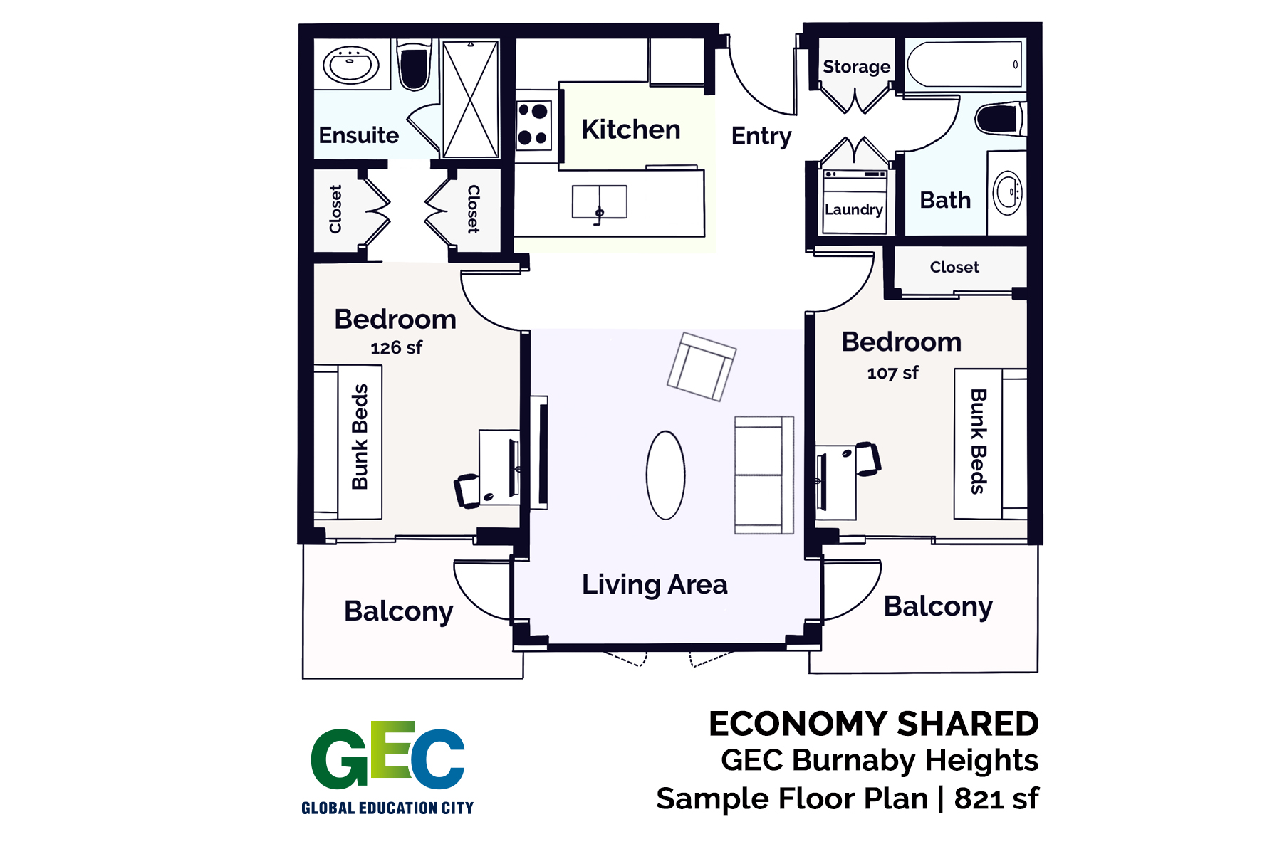 Economy Shared Bedroom floor plan