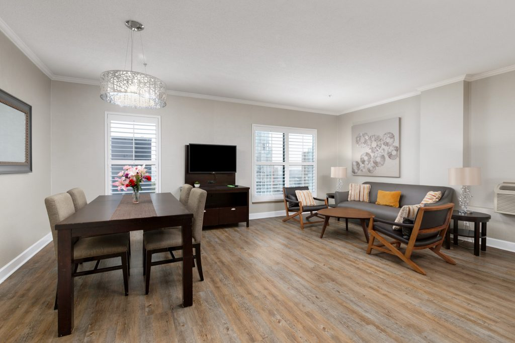Downtown Vancouver GEC Granville Suites long term extended stays hotel premium penthouse with kitchenette and living room