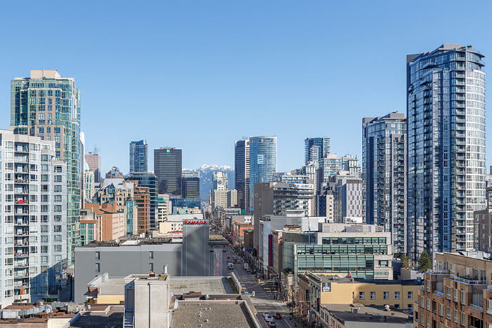Downtown Vancouver GEC Granville Suites long term extended stays hotel has amazing view of North Shore Mountains and Granville Entertainment District