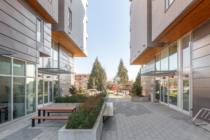 Entrance and outdoor area of GEC Pearson student residence building in Vancouver