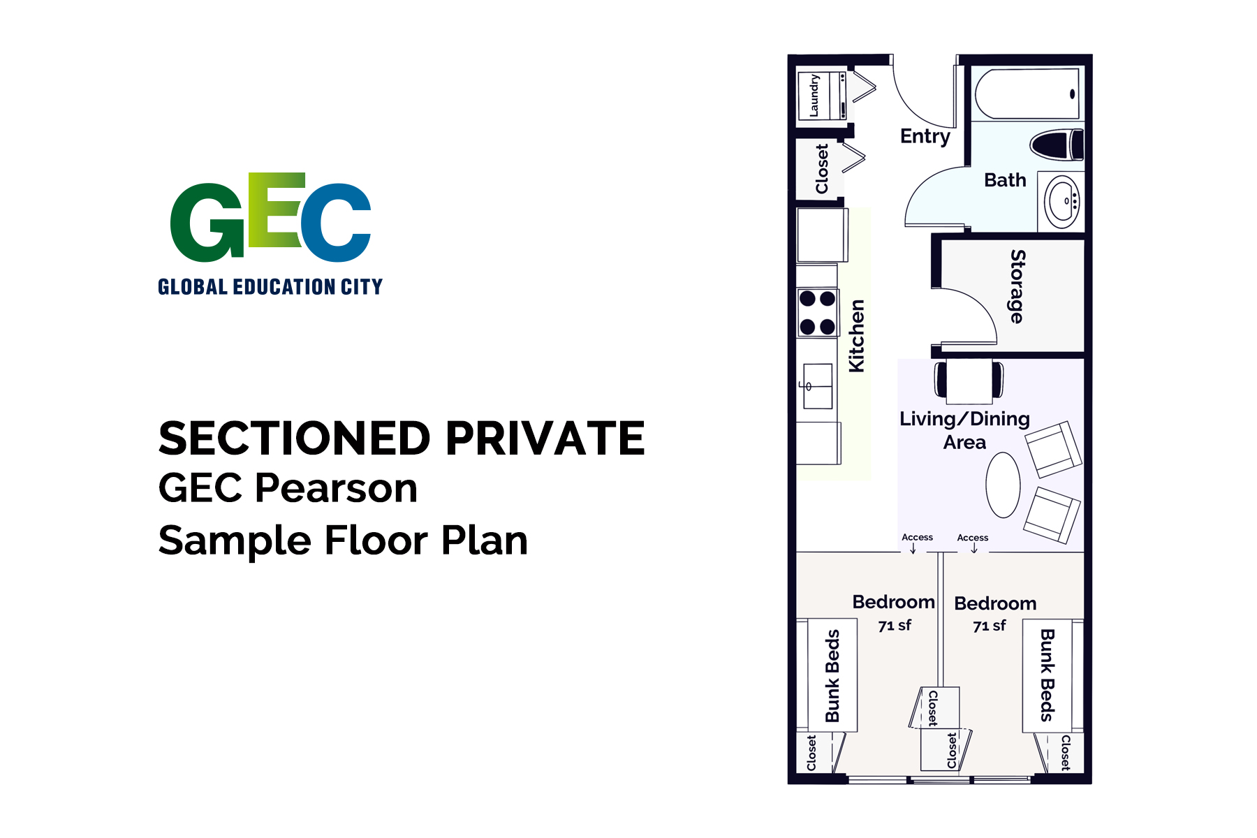 Private Sectioned Bedroom floor plan