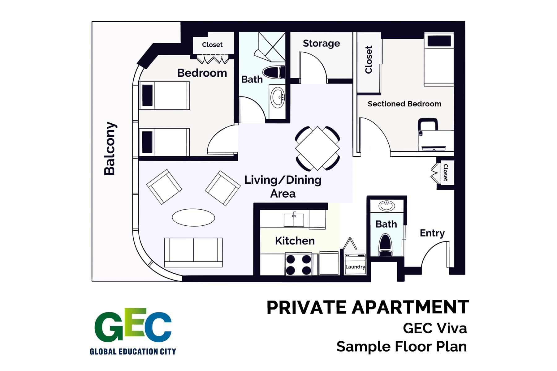1 Bedroom Plus Den Apartment floor plan