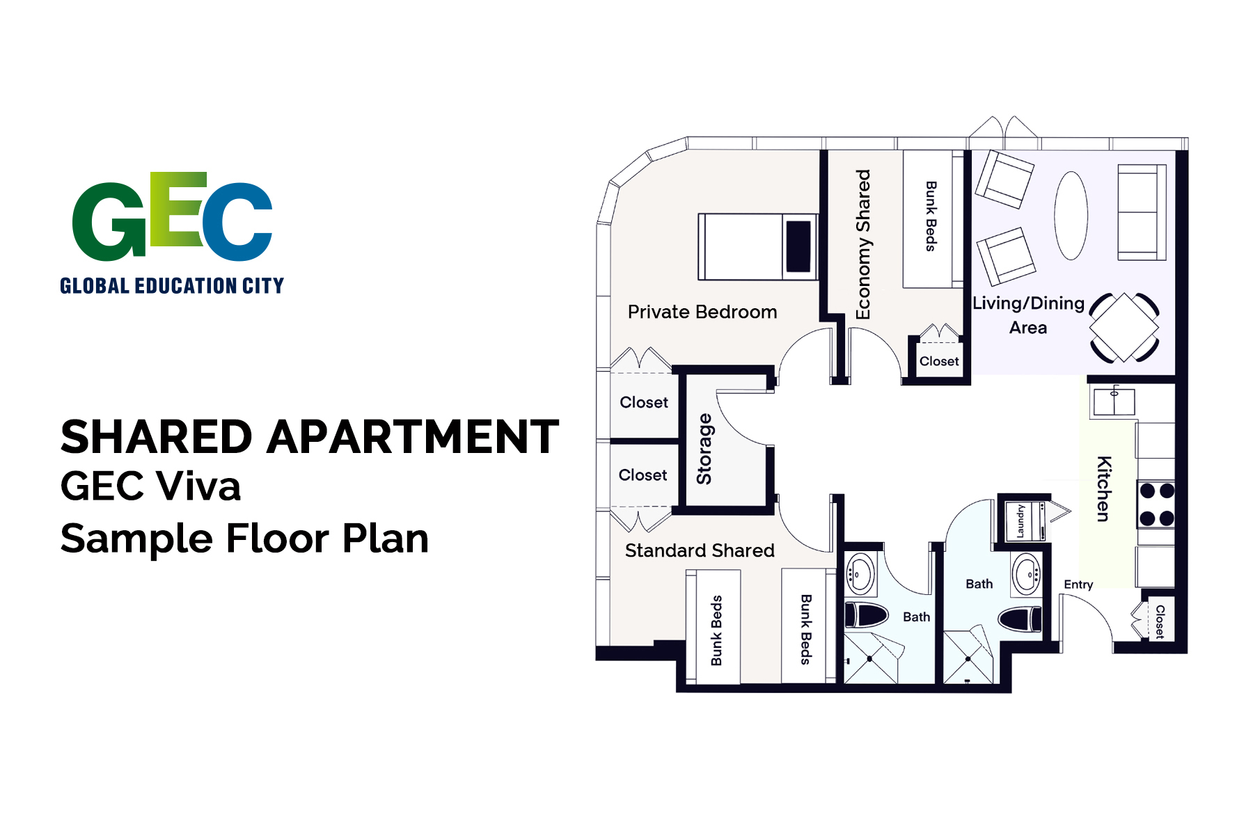 Economy Shared Bedroom floor plan