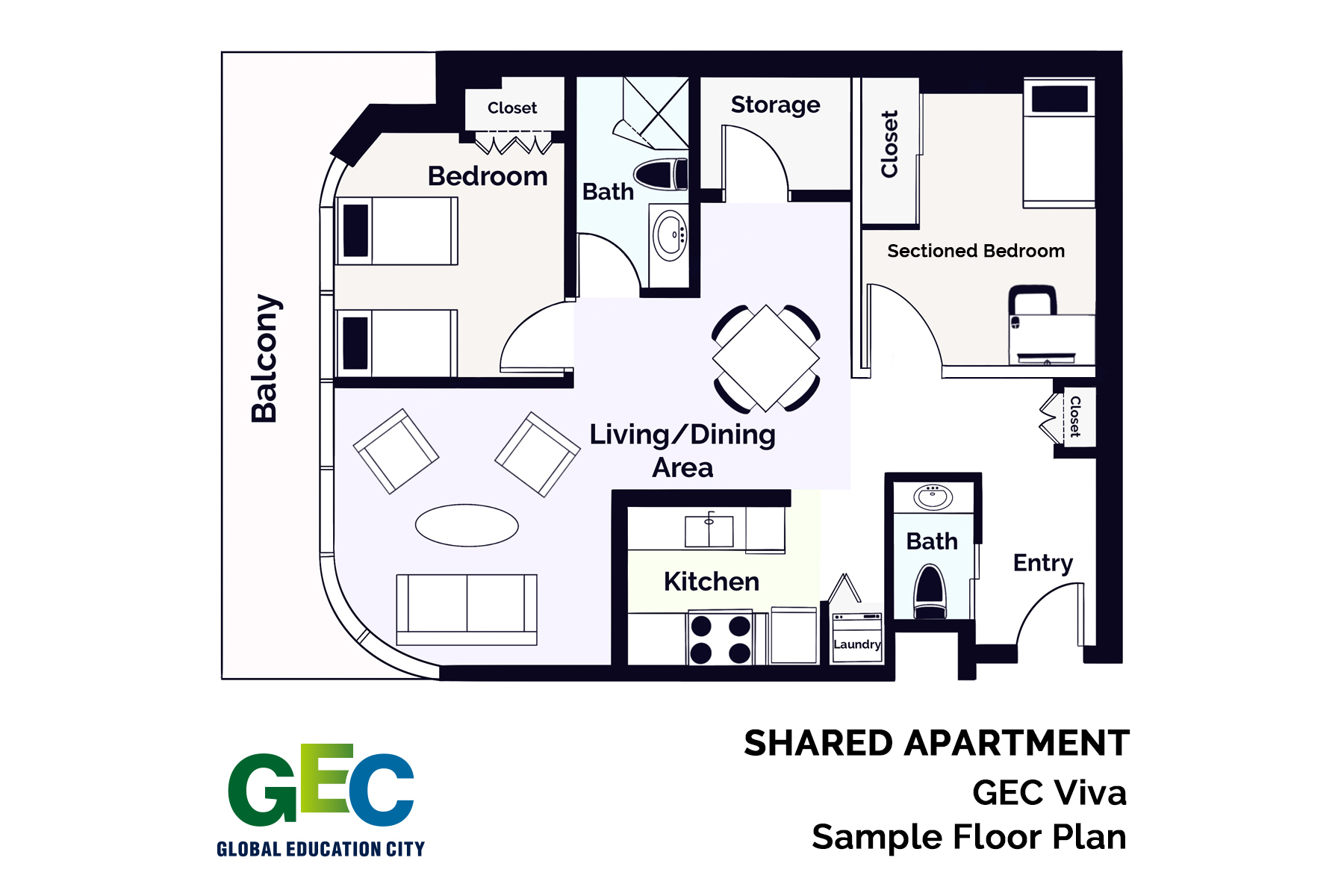 Sectioned Private Bedroom floor plan