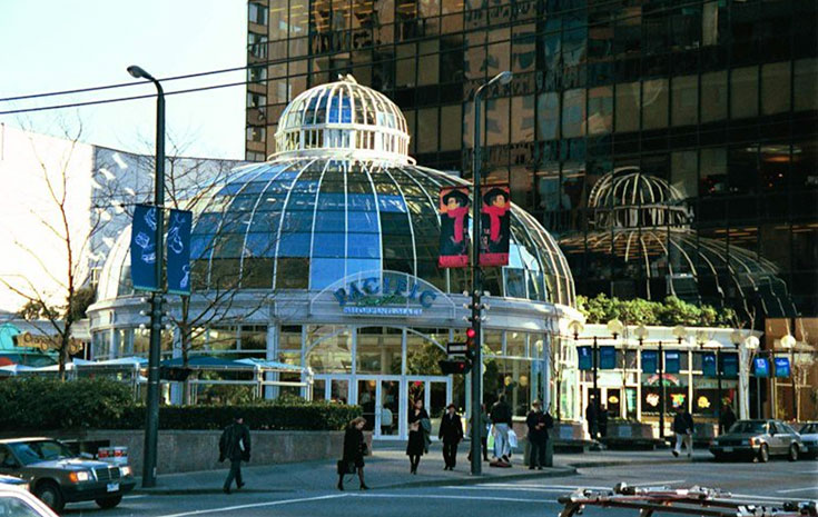 Pacific Centre shopping mall on Granville and Georgia Street is near GEC Viva student apartments and GEC Granville Suites long term and extended stay hotel in Downtown Vancouver