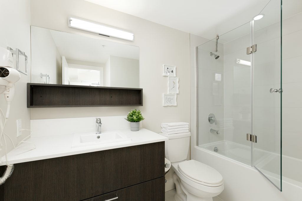 Bathrooms at GEC Pearson student residence include a soaking bathtub and standing shower