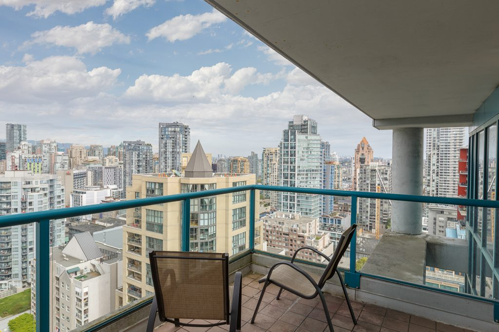 GEC Viva student accommodations has balcony with beautiful views of Downtown Vancouver fireworks, beaches, and mountains