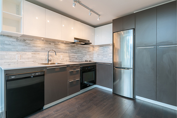 Stainless steel appliances at GEC Marine Gateway apartments and townhouses for rent in Vancouver