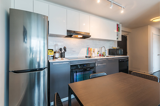 GEC Marine Gateway kitchen in a one bedroom student apartment in Vancouver