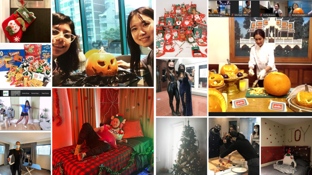 Photo collage of resident events at GEC student residences.