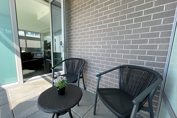 Private balcony at GEC Marine Gateway apartments for rent in Vancouver