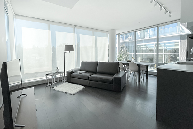 Overview of 2 bedroom apartment at GEC Marine Gateway with floor to ceiling windows