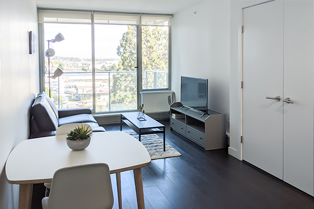 Furnished 1 bedroom apartment at GEC Marine Gateway residences in South Vancouver