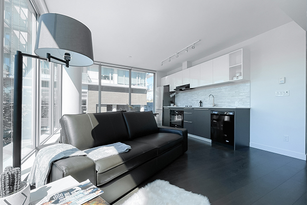 Furnished rental apartments at GEC Marine Gateway at Cambie Street and Marine Drive