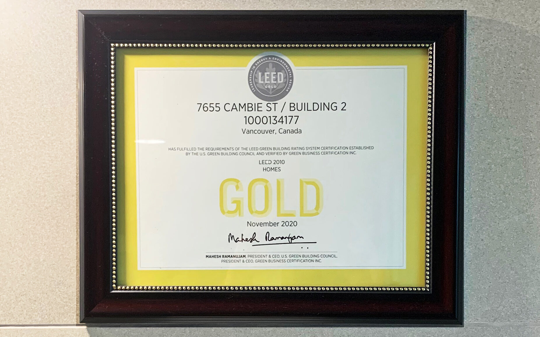 GEC Pearson Building Leed Certificate in a frame