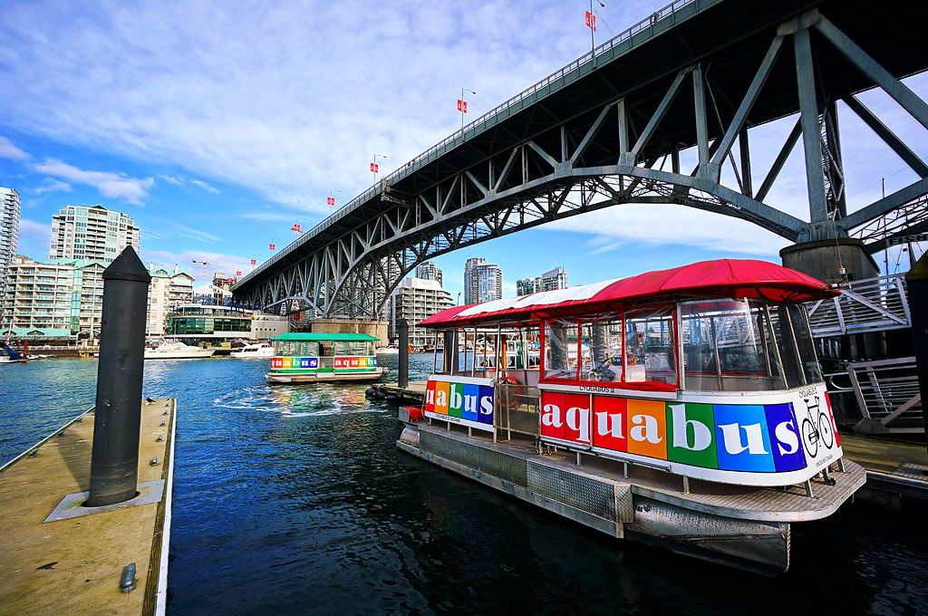 Aquabus waiting for its passengers at the Granville Island Dock. One of the recommendations for Vancouver Downtown Things to Do.